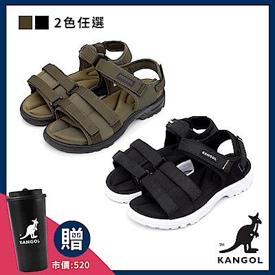 [時時樂限定]【KANGOL】英式寬版記憶鞋墊休閒涼鞋-男女任選-共兩款