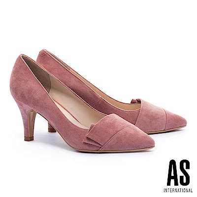 高跟鞋 AS 高雅純色全真皮尖頭高跟鞋-粉