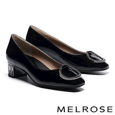 高跟鞋 MELROSE 簡約大方水鑽飾釦漆皮造型鞋跟高跟鞋-黑