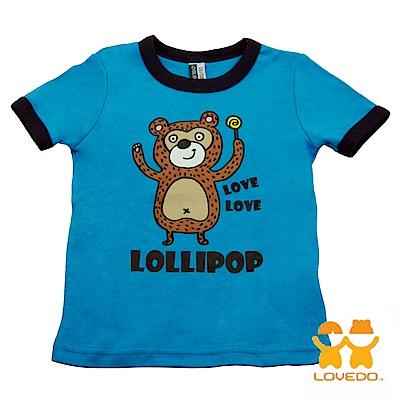【LOVEDO-艾唯多童裝】愛吃糖的小熊  短袖T恤 (藍)
