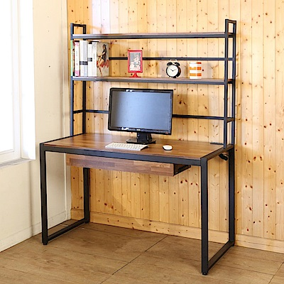 BuyJM 工業風防潑水128公分附書架插座工作桌-DIY