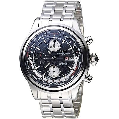BALL波爾Trainmaster世界時間GMT計時機械錶(CM2052D-SJ-BK)黑