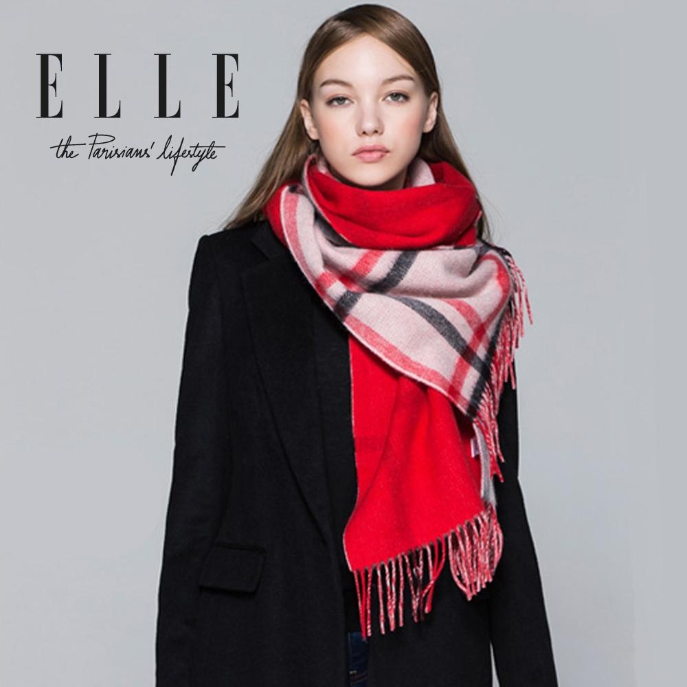 時時樂-ELLE冬季保暖休閒百搭格紋雙面圍巾