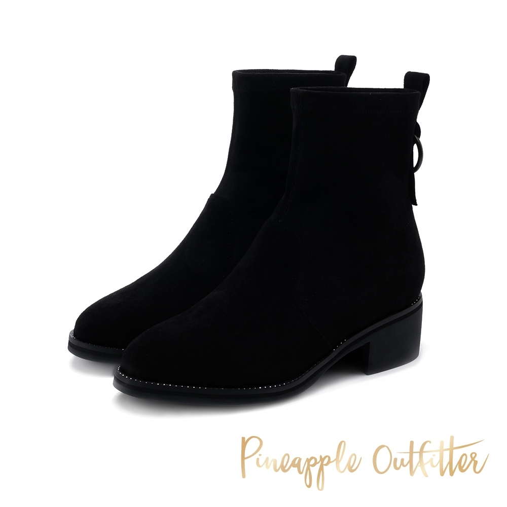 Pineapple Outfitter-BLAKE 經典彈性素面中性短靴-絨黑色