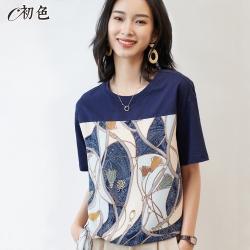初色  復古印花綁帶T恤-藍色-(M-2XL可選)