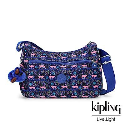 Kipling 粉色猴子叢林印花側背包(中)