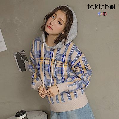 東京著衣 英倫風高含棉格紋大學T連帽上衣(共二色)