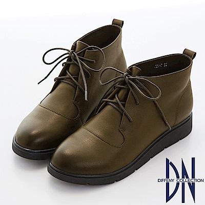 DN 倫經典 簡約綁帶擦色牛皮短靴-綠