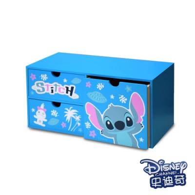 迪士尼Disney 史迪奇 橫式三抽盒 抽屜盒 置物盒 美妝收納 桌上收納