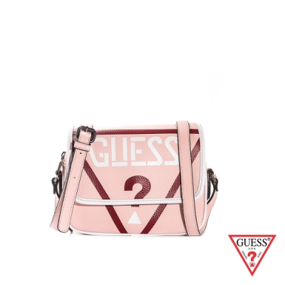 GUESS-女包-LOGO壓紋皮革肩背包-粉紅
