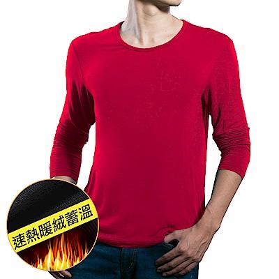 【pierre cardin 皮爾卡登】速熱蓄溫圓領長袖衫_紅色