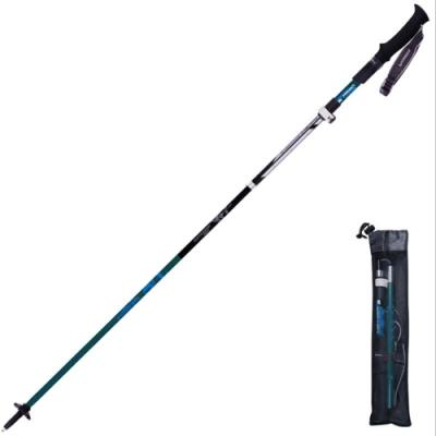 PUSH!戶外用品登山杖可伸縮外鎖5節折疊手杖登山裝備P138藍黑色