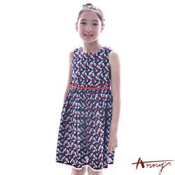 Annys復古衝突水果滿版圖案蕾絲洋裝*7134藍