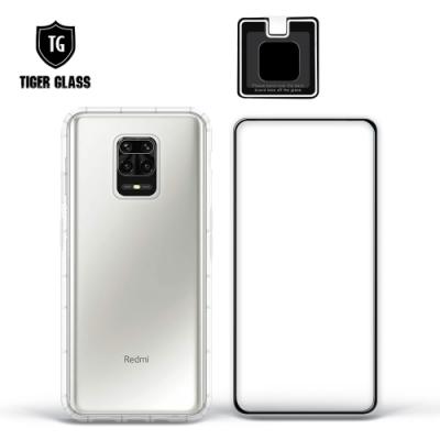 T.G MI 紅米 Note 9 Pro 手機保護超值3件組(透明空壓殼+鋼化膜+鏡頭貼)