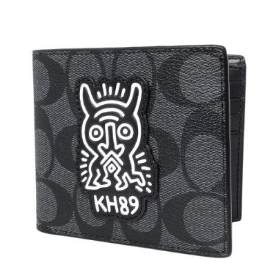 COACH Keith Haring雙人形灰黑C Logo雙摺二合一男夾