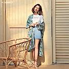 H:CONNECT 韓國品牌 女裝-夏日印花開襟罩衫-淺藍
