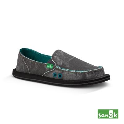 SANUK 仿舊水洗懶人鞋-女款(鐵灰色)