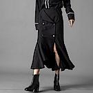 西裝裙高腰開岔傘擺A字裙-(黑色)Andstyle
