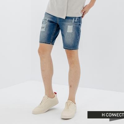 H:CONNECT 韓國品牌 男裝-水洗個性刷破膝上牛仔短褲