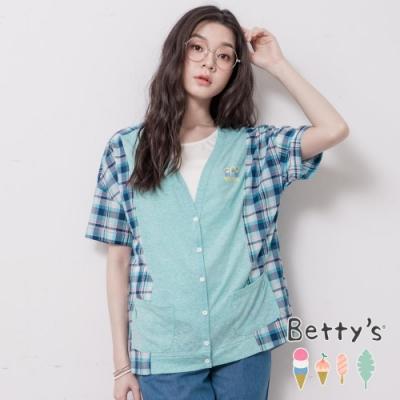 betty's貝蒂思 V領開襟拼接格紋上衣(淺綠)