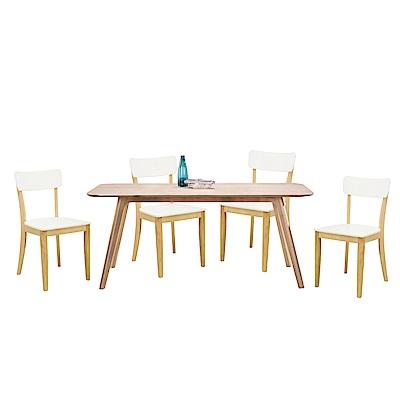 品家居 凱布絲6尺橡膠木實木餐桌椅組合(一桌四椅)-180x90x75cm免組