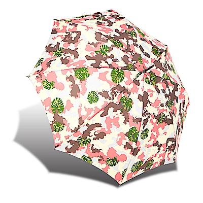 RAINSTORY 熱帶迷彩 抗UV自動開直骨傘-粉