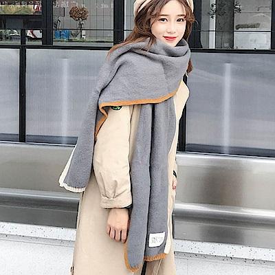 Decoy 雙色彩框 學院男女中性保暖圍巾 灰