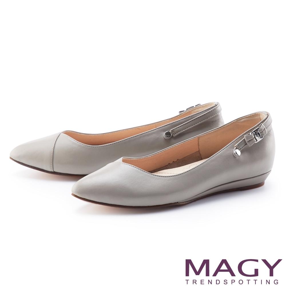 MAGY 3WAY可拆式細背帶真皮尖頭 女 平底鞋 灰色