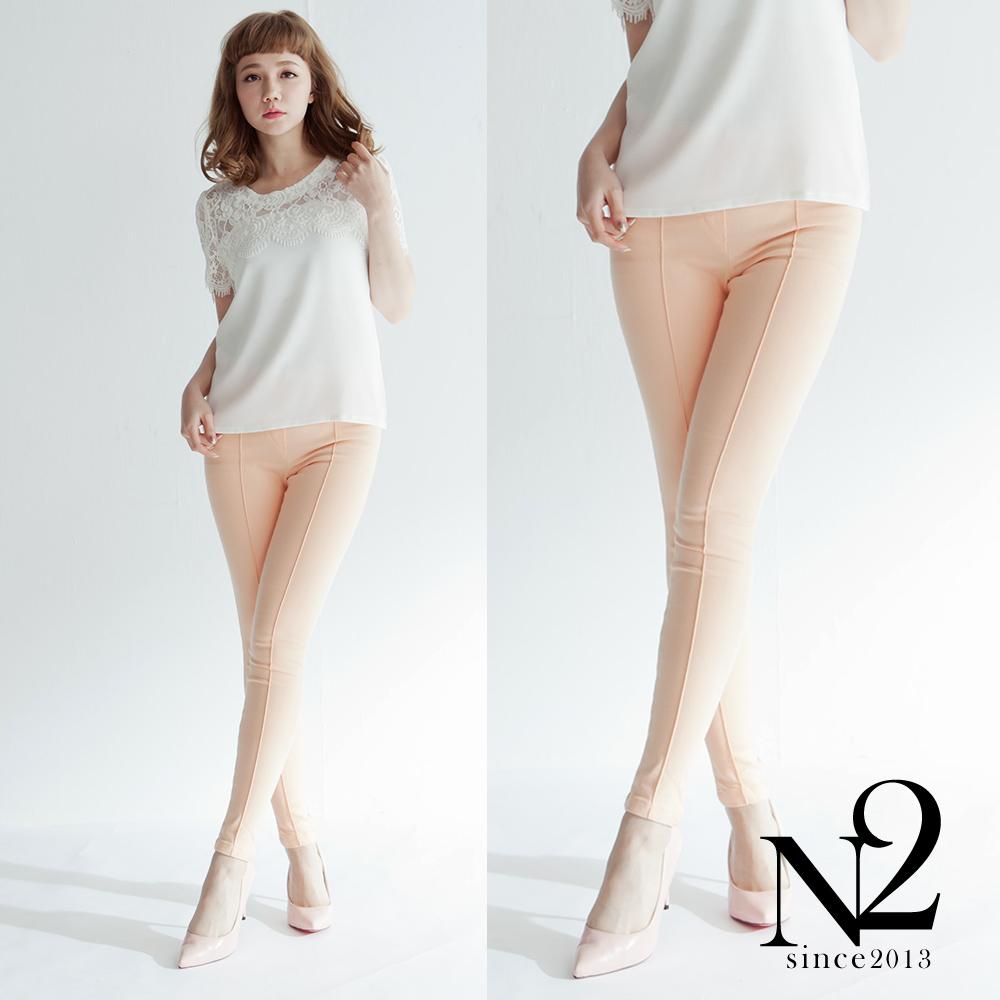 下著 正韓粉嫩立體車線顯瘦鬆緊帶鉛筆褲(粉橘) N2