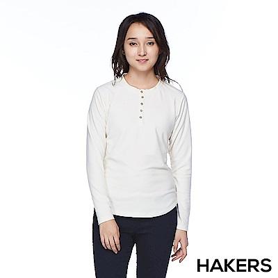 【HAKERS】女款 開襟保暖輕刷毛衫(米白)