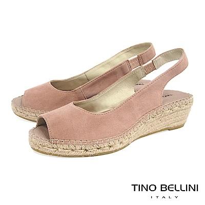 Tino Bellini 西班牙進口簡約麂皮魚口麻編楔型涼鞋 _ 粉