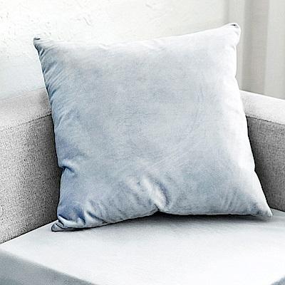 凱蕾絲帝 台灣製造-特級可水洗棉-實木椅沙發椅專用49cm絨布方形抱枕/靠枕-灰藍