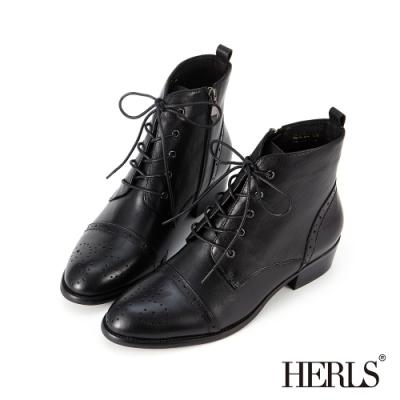 HERLS短靴-真皮雕花綁帶牛津靴短靴-黑色