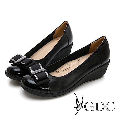 GDC-真皮素色蝴蝶結基本圓頭楔型鞋-黑色