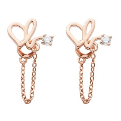 agnes b. 愛心耳環(玫瑰金)(一對)
