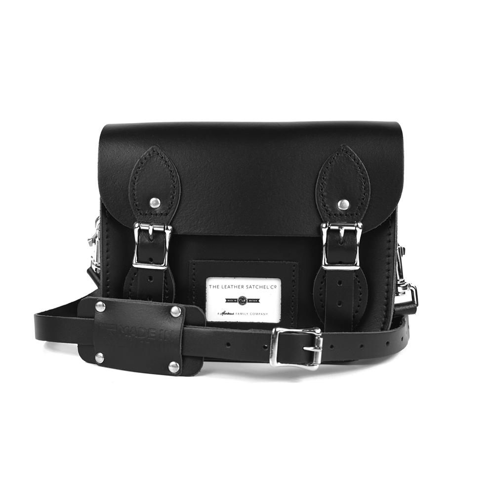 The Leather Satchel 英國手工牛皮劍橋包 肩背 後背包 火炭黑 8.5吋