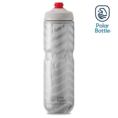 Polar Bottle 24oz 雙層保冷噴射水壺 BOLT 白-銀