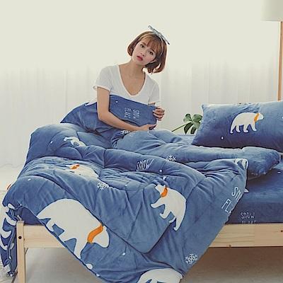 AmissU 北歐送暖法蘭絨雙人床包暖暖被四件組 北極熊戀曲