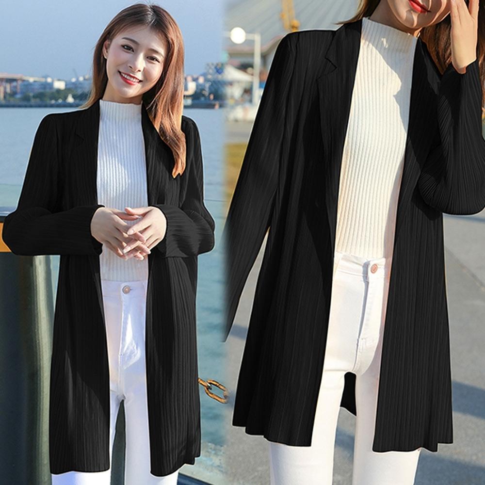 【KEITH-WILL】(預購)韓國設計時尚百搭壓褶外套(共3色) (黑色)