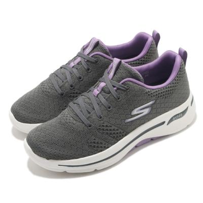 Skechers 休閒鞋 Go Walk Arch Fit 女鞋 健走 專利鞋墊 郊遊 踏青 回彈 避震 灰 紫 124403GYLV
