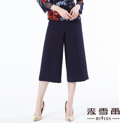 【麥雪爾】簡約裝飾腰帶八分寬褲-藍