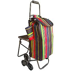 輕鬆購靜音輪爬樓梯購物車(彩虹袋)