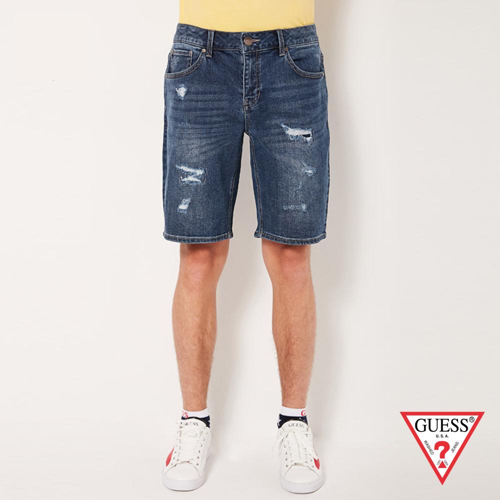 GUESS-男裝-刷破個性牛仔短褲-深藍 原價3490
