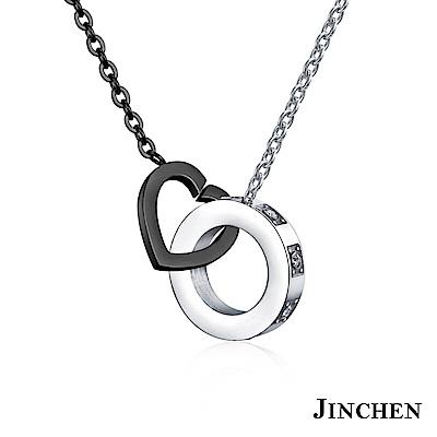 JINCHEN 白鋼愛心圓圈項鍊