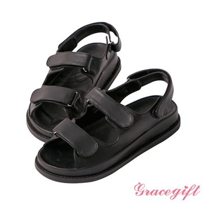 Grace gift-素面魔鬼氈老爹涼鞋 黑