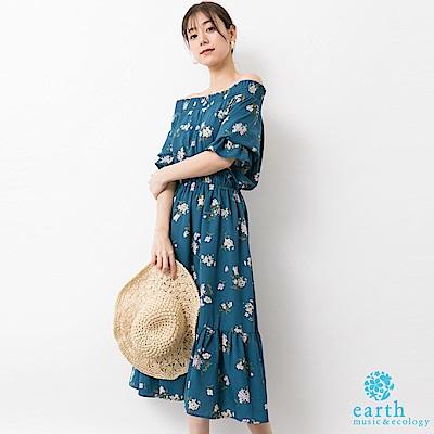 earth music 花朵打印荷葉下擺剪裁連身洋裝