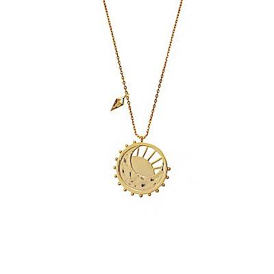 Wanderlust+Co 澳洲時尚品牌 太陽新月造型曙光項鍊 金色