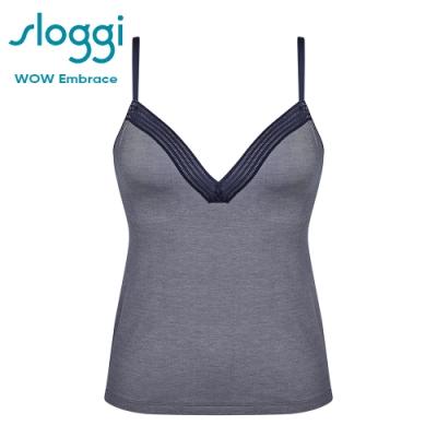 sloggi WOW Embrace 舒適手感蕾絲長版背心式內衣  星際藍