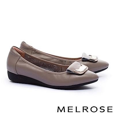 低跟鞋 MELROSE 舒適典雅金屬鑽飾釦全真皮楔型低跟鞋-灰