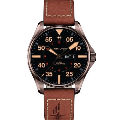 Hamilton 漢米爾頓 卡其航空系列PILOT DAY DATE機械腕錶-黑/46mm